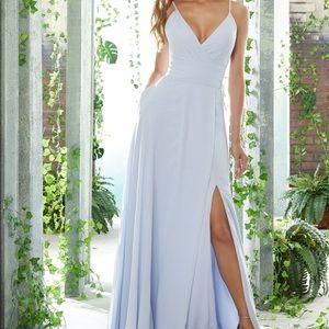 V-Neck Chiffon Bridesmaid Dress w/ Side Slit Skirt